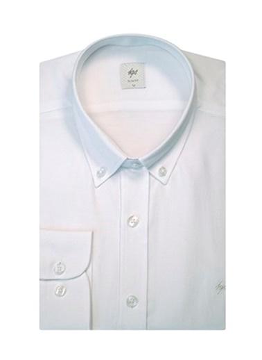 IGS Erkek Beyaz Regularfıt / Rahat Kalıp Düğmelı Yaka Gömlek Beyaz